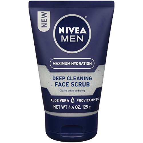 NIVEA Men Maximum  Hydration Deep Cleaning Face Scrub - Cleans without drying, contains Pro-vitamins - 4.4 oz. Tube (Pack of 3)