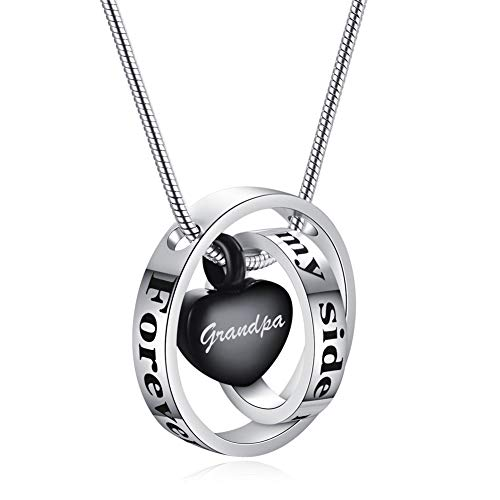 SL Personalized Forever in My Heart Stainless Steel Two Circle Rings Heart Urn Locket Necklace for Dad Mom Nana Aunt Memorial Name Keepsake Cremation Pendant for Human Pet Ashes,Black - Engravable Circle Charm Pendant