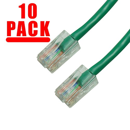 Patch Cord Cat5 10ft Green (Grandmax 10 Pack - CAT6 10 Foot UTP Ethernet Network Patch Cable, Multiple Colors and Sizes, Snagless/ No Boot/ GREEN)
