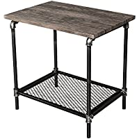 End Table | Side Table | Retro Industrial Vintage Nightstand | Square by Supernova (Silver Black)