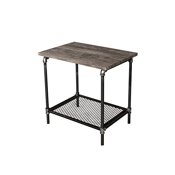 Starsong Retro Antique Industrial Vintage Style End Night Coffee Table/Tool Stand with Storage Shelf 3