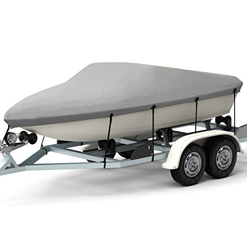 Kohree HY026-HM Trailerable Runabout Cover Fit V Tri-Hull Fishing Ski Pro-Style Bass Boats,Heavy Duty 600D Polyester for 14'-16'L,Grey