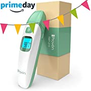 Baby Forehead and Ear Temperature Thermometer - Iprovèn Digital Non Contact Infant and Toddler (Termometro) - with Object Mode -Easy for Your Newborn with Pacifier - Quick No Touch - 2018 TMT-215