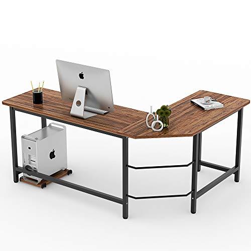 (Tribesigns Vintage L-Shaped Desk Corner Computer Desk PC Laptop Study Table Workstation Home Office Wood & Meta, Retro Style)