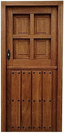Puerta entrada madera de Cedro 203x82,5+marco de 9x7 con junta de goma. Cerradura de seguridad 1 punto.