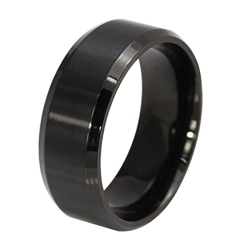 (Free Engraving) Personalized Stainless Steel Plain Band Ring for Men,Black,8mm Width,Size (Black Stainless Steel Ring)