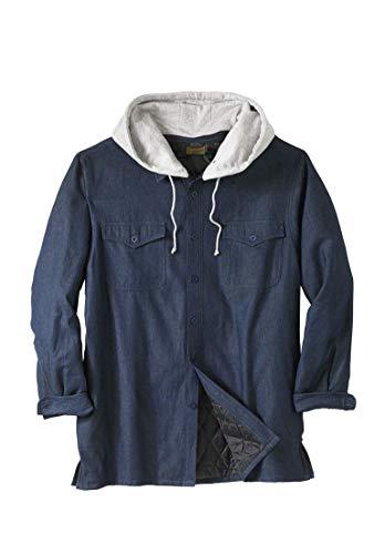 Indigo Drawstring - Boulder Creek Men's Big & Tall Removable Hood Shirt Jacket, Indigo Denim Tall-L