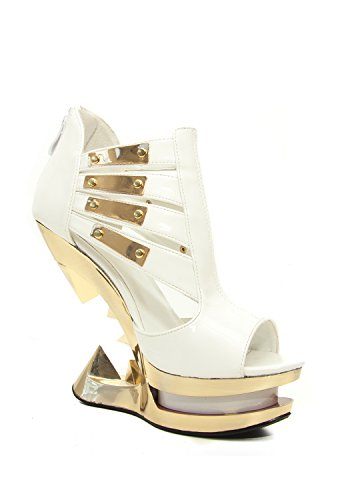 Hades Shoes - Nebula Peep Toe Golden Iceberg Wedge White