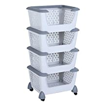SortWise ® Sturd Plastic Storage Basket Cart With Rolling Wheel For Kitchen Bulk Food, Toy Storage (4-Tier)