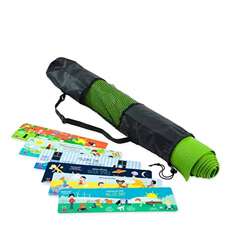 HearthSong® Backyard Yoga Mat Set for Kids - Includes 6 Double-Sided Illustrated Yoga Pose Cards - Drawstring Bag with Carrying Strap - Exercise and Fitness for Children - 64 L x 24 W - Green ()
