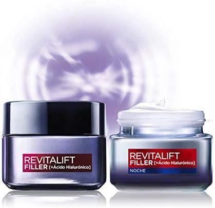 L'Oréal Paris, Set de Crema de Día + Crema de Noche, con Ácido Hialurónico Revitalift Filler, Set de Cremas Faciales Rellenadoras y Antiarrugas, 50 ml Cada Una