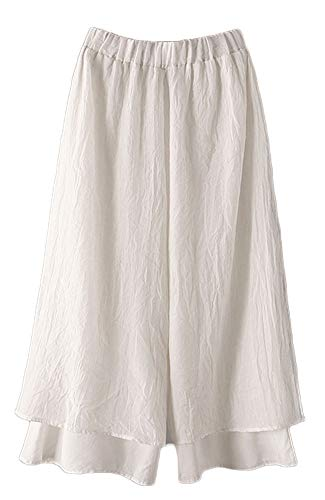 LaovanIn Women's Wide Leg Capri Pants Cotton Cropped Palazzo Trousers Culottes XX-Large White
