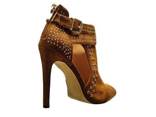 Angkorly - damen Schuhe Stiefeletten - Stiletto - Sexy - Offen - Nieten - besetzt - Schleife - metallisch Stiletto high heel 11.5 CM - Camel