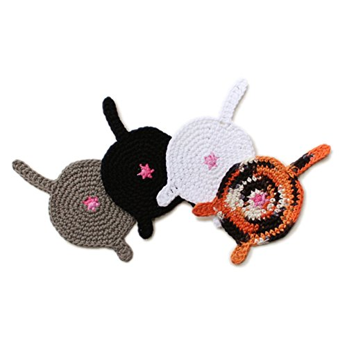 Handmade custom color crochet cat butt coasters (Set of 4) (Couples To Be For Halloween)