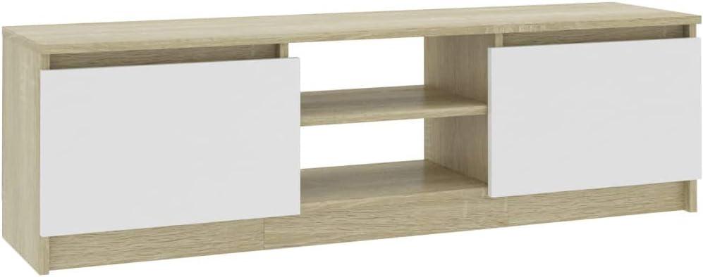 Festnight Mueble de TV de Aglomerado Mueble Televisor Muebles TV Madera Banco Roble Sonoma 120x30x35,5 cm: Amazon.es: Hogar