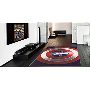 Amazon Com Marvel Captain America Shield Round Rug 52in