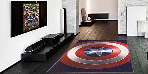 Gertmenian: Marvel Captain America Shield Rug HD Digital Bedding Area Rugs 54x78 inch, Large, Navy Blue from Gertmenian