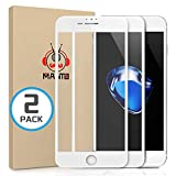 MANTO [2-Pack] Screen Protector for iPhone 8 Plus 7 Plus 6S Plus 6 Plus Full Coverage Tempered Glass Film Edge to Edge Protection Compatible with iPhone 8 Plus 7 Plus 6S Plus 6 Plus 5.5 Inch, White
