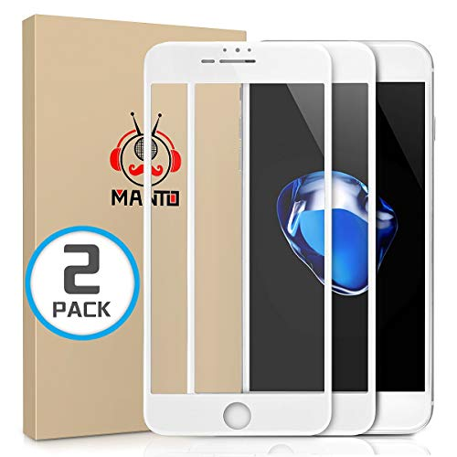 MANTO [2-Pack] Screen Protector for iPhone 8 Plus 7 Plus 6S Plus 6 Plus Full Coverage Tempered Glass Film Edge to Edge Protection Compatible with iPhone 8 Plus 7 Plus 6S Plus 6 Plus 5.5 Inch, White ()