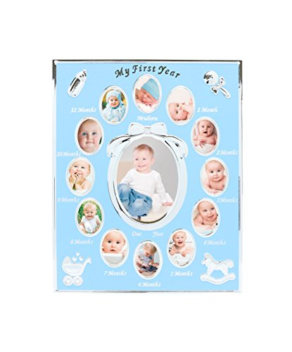 - Tiny Ideas Baby's First Year Keepsake Picture Photo Frame, Silver/Blue