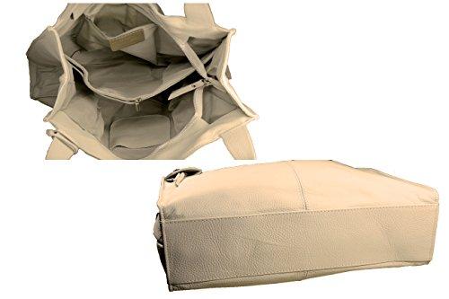 FERETI Grande borsa a tracolla Beige in pelle molto morbida fatto in Italia Exclusiva Línea pldGolzp5