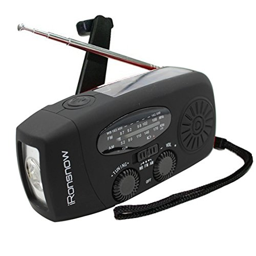 41fKrQUuoHL - iRonsnow IS-088+ Solar Hand Crank Radio AM/FM/NOAA/WB Weather Radio, Dynamo LED Flashlight 1000mAh Emergency Power Bank for iPhone/Android Smart Phone