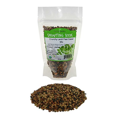Sprouting Seed Mix - 8 Oz - Handy Pantry Brand - Organic - Green, Red & French Lentils- Edible Seeds, Salad, Soup, Sprouts & Food Storage (Growers Mix)