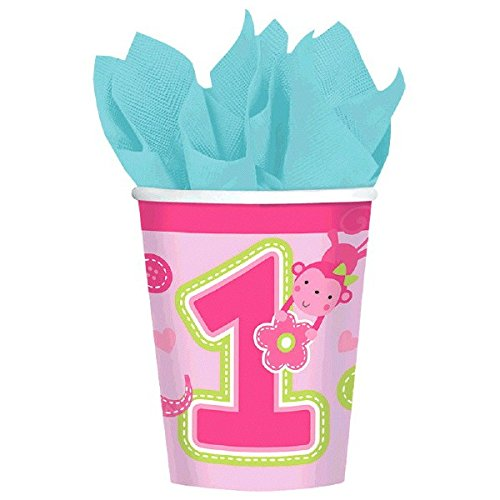 One Wild Girl 1st Birthday Paper Cups Party Tableware, Pink, Paper, 9oz , Pack of 8