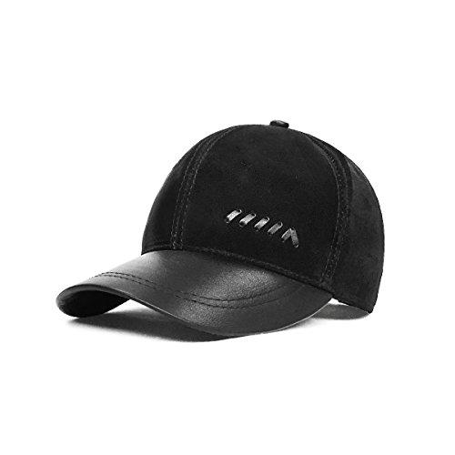 LETHMIK Baseball Cap Vintage Adjustable Unisex Suede Leather Hats with Snapback Black
