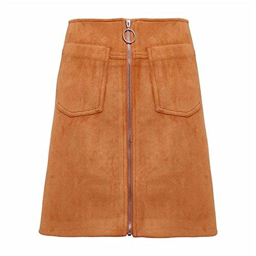 Abenily Femme Chemise Casual Taille Haute Sac  Fermeture clair Hanche Couleur Unie Polyvalente Jupe As Shown