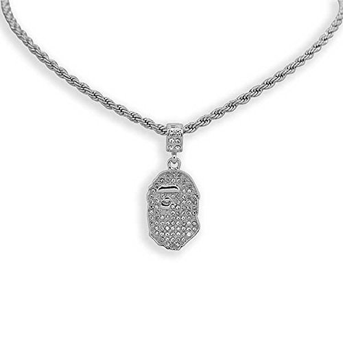 "White Gold-Tone Iced Out Hip Hop Bling Bape Ape Pendant with 24"" Solid Rope Necklace Chain"