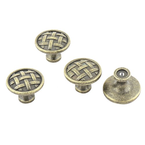 uxcell Metal Home Round Shape Drawer Cupboard Door Handle Pull Knob 4 Pcs Bronze Tone by uxcell