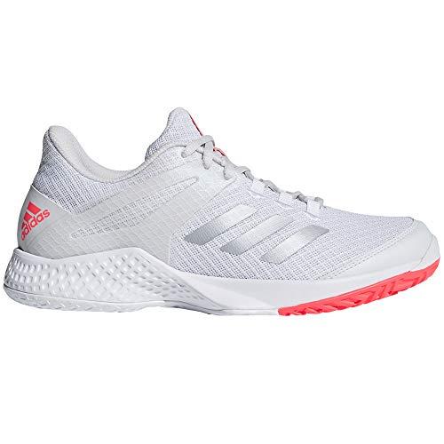 adidas Women's Adizero Club 2 Tennis Shoe, White/Matte Silver/Grey, 7 M US