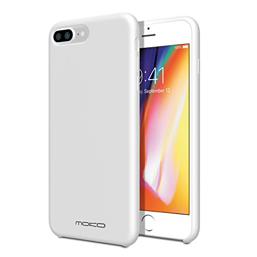 MoKo for iPhone 8 Plus Case/iPhone 7 Plus Case Liquid Silicone Gel Rubber Slim Fit Shockproof Case with Soft Microfiber Cloth Lining Cushion for Apple iPhone 8 Plus/iPhone 7 Plus, White