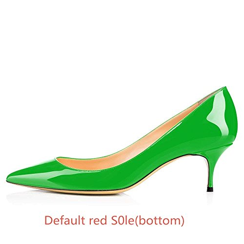 Us S0le 14 Green red t Office Chris Toe Pointed bottom Pumps Heels Low On Kitten 65mm Slip 5 Women's ZwOR6Tx
