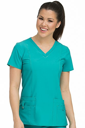 (Med Couture Activate Women's V-Neck Princess Seam Scrub Top, Real Teal,)