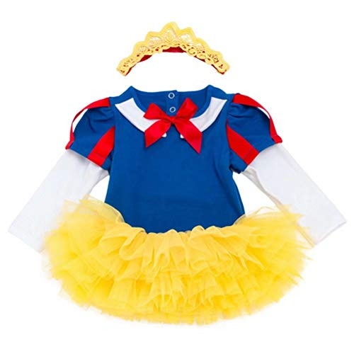 (Baby Girl Romper Snow White Costume Bodysuit Dress 3PCS)