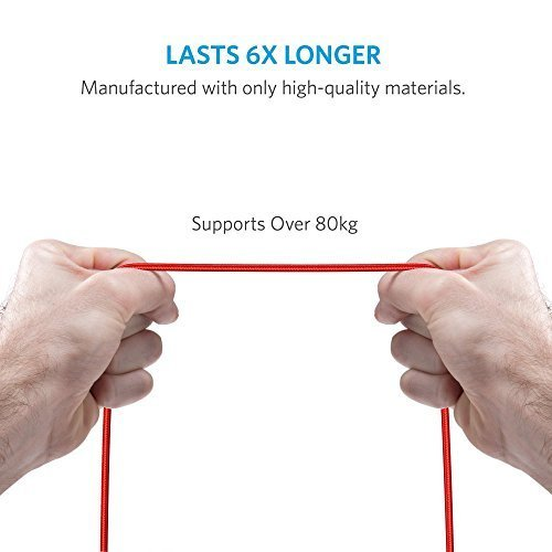 Anker PowerLine+ Lightning Cable (3ft) with Pouch, Nylon Braided Charging Cable for iPhone, iPad and More (Red) by Anker (Image #5)