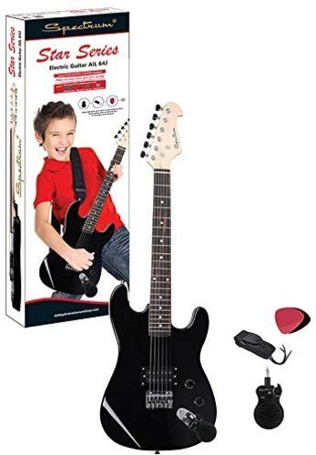 Spectrum AIL 64J Junior Size 34-Inch Electric Guitar with Bonus Mini Amplifier, Black from Ashley Entertainment