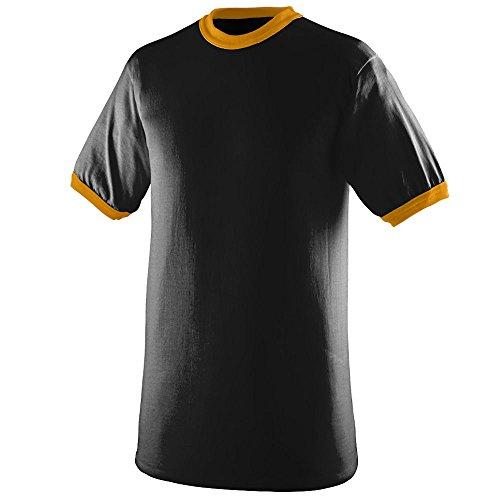 (Augusta Sportswear Mens Ringer Tee Shirt, Black/Gold, Medium)