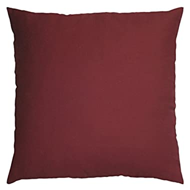 JinStyles® Cotton Canvas Accent Decorative Throw Pillow Covers (Solid Burgundy, Square, 1 Cushion Sham for 18 x 18 Inches Inserts)