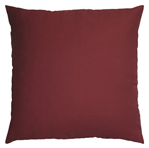 JinStyles Cotton Canvas Accent Decorative Throw Pillow Covers (Solid Burgundy, Square, 1 ...