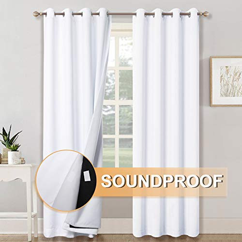 RYB HOME 3-in-1 Noise - Blackout - Thermal Insulation Window Curtains, Inside Detachable Felt Liner for Noise Reduce/Sunlight Block for Daytime Sleep/Bedroom, White, Wide 52 x Long 84 in, 1 Pair