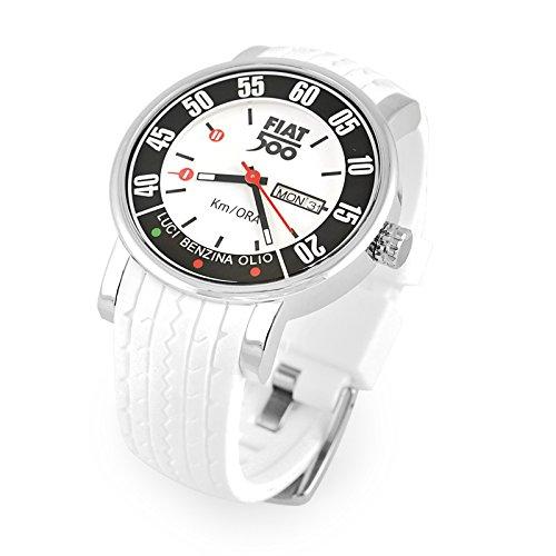 Fiat 500 - Reloj de pulsera analógico, color blanco