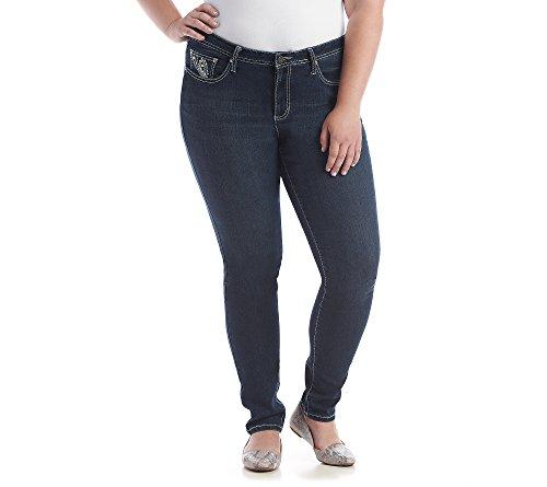 Earl Jean Plus Size Stitch Swirl Patch Pocket Skinny Denim Jeans 22W