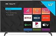 """Smart TV LED 43"""" Full HD AOC ROKU TV FHD 43S5195/78G, Wi-Fi, 3 HDMI, 1 USB, Wifi, Conversor Di"""