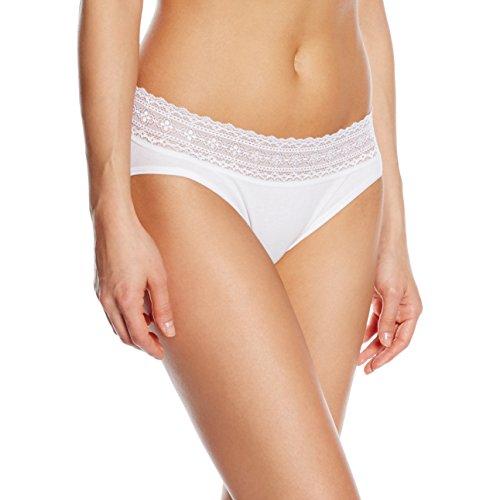 Palmers Slip Laceband Cotton - baño Mujer blanco (weiss 100)