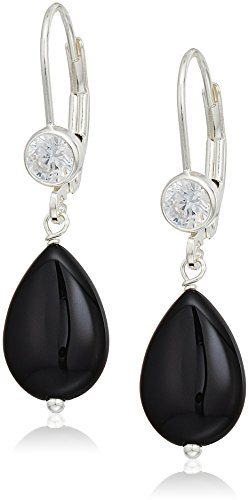 Drop Earrings with Black Onyx Pear Shape Beads and Cubic Zirconia Accented Sterling Silver Lever backs Clip-On (Black Onyx Pear Shape)