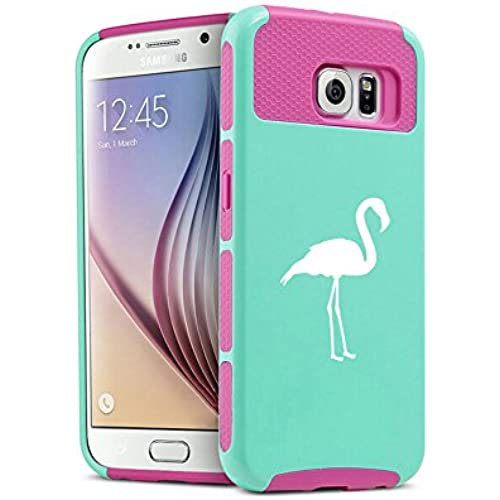 Samsung Galaxy S7 Shockproof Impact Hard Case Cover Flamingo (Teal-Hot Pink) Sales
