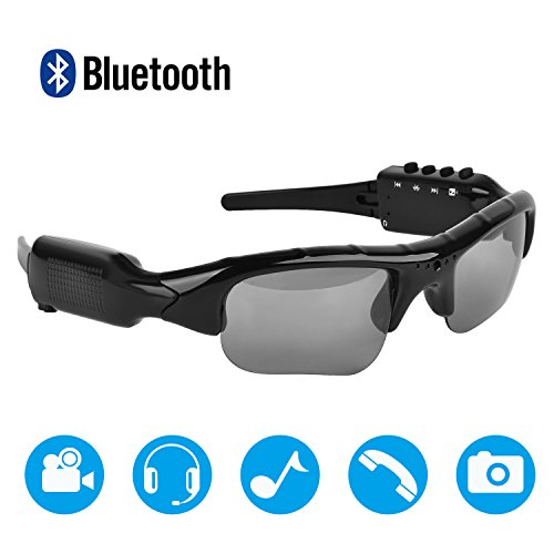 MOVTEKE Bluetooth Polarized Sunglasses DVR Video Cam Recorder 1080P Handsfree Wireless Headphones 4.1 MP3 Player Support Micro SD Card 32GB for Smart - With Bluetooth Sunglasses